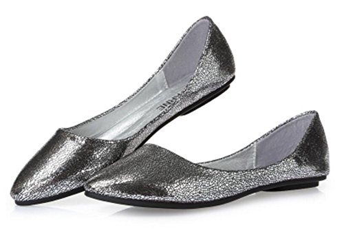 Womens Casual Loafers Ballet Slip On Comfort Flat Shoes Silver r7M9gS