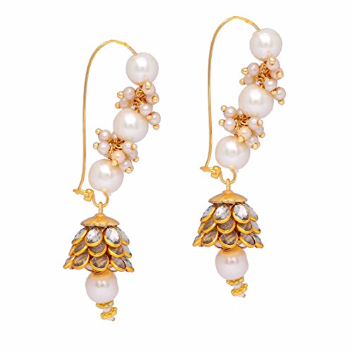 Beaded Style Earrings Indian (Jaipur Mart Indian Bollywood Gold Plated Pearl Beaded Silver Pacchi Earrings)