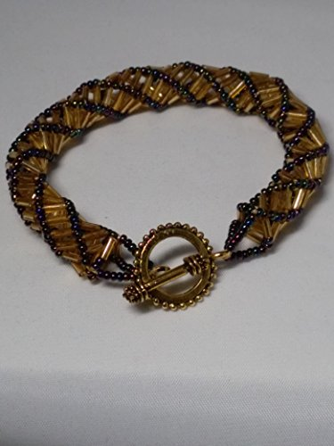 beautiful-yellow-bugle-and-multi-faceted-seed-bead-helix-bracelet