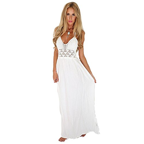 Vancol Women's Backless Crochet White Summer Maxi Long Beach Dress (Large)