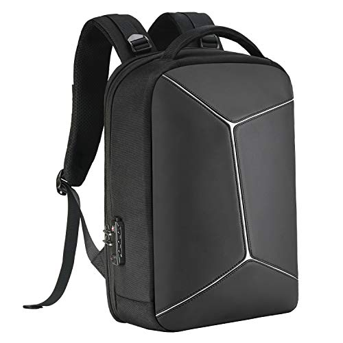 COOSKY Anti-theft Backpack with RFID Pocket Water Proof Business Geek Laptop Bag with USB Charging Port and Earphone Port, Reflective Travel Bag with Anti-Theft Lock fits most to 15.6 inch for Men & Women Black