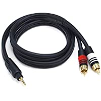 Monoprice 105597 3-Ft Premium Stereo Male to 2RCA Male 22AWG Cable (Black)
