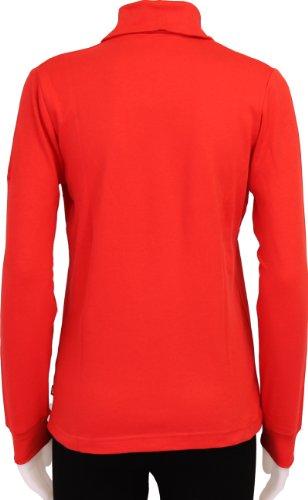 Medico–Camiseta de esquí para mujer, 100% algodón, manga larga, cremallera ferrari red