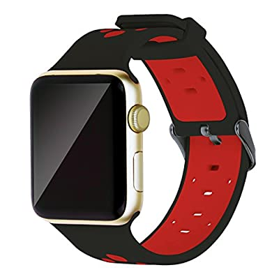 Oitom 38mm Soft Breathable Silicone Replacement Wristband Straps with Plated TPU Protective Case for Apple Watch Nike+,Series 1,Series 2,Sport,Apple Watch Edition M/L Size (Black/Red 38mm)