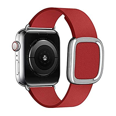 SIRUIBO Leather Band for Apple Watch 38mm 40mm 42mm 44mm Women, Modern Buckle Replacement iWatch Strap Wristband for Apple Watch Series 4 3 2 1