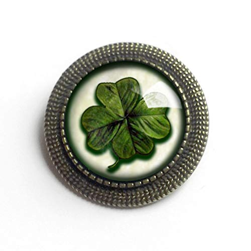 Victorian Shamrock reversed decoupage brooch