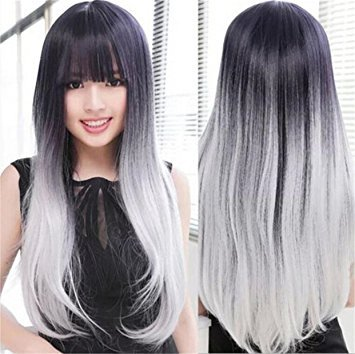 Futuretrend®most Popular Cheap Ombre Wig Womens Lady's Long Stright Wigs Two Tone Black to Grey Synthetic Hair Wigs Soft Degree