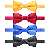 AUSKY 4 Packs Adjustable Pre-tied Bow Tie for Infant Newborn baby boys Toddler Child Kids in Satin Solid Color (Kids I)