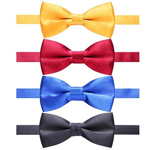(AUSKY 4 Packs Adjustable Pre-tied Bow Tie for Infant Newborn baby boys Toddler Child Kids in Satin Solid Color (Kids I))