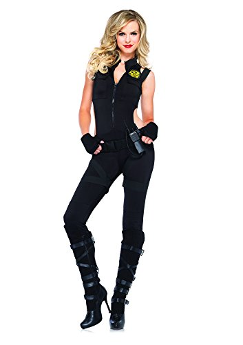 [Leg Avenue Women's 4 Piece Swat Knockout, Black, Large] (Knock Out Costumes)