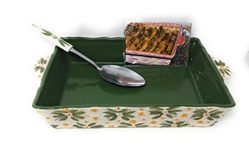 Temp-tations Embossed 4 Qt Baker, Casserole Dish (13x9), w/Server & Recipe Cards (Old World Green)