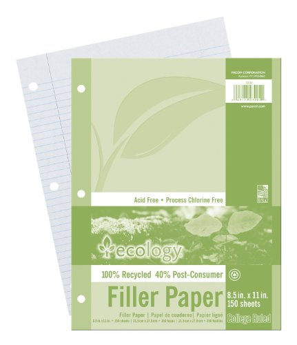 Ecology College Ruled Recycled Filler Paper,White, 150 Sheets - Paper Ruled Recycled