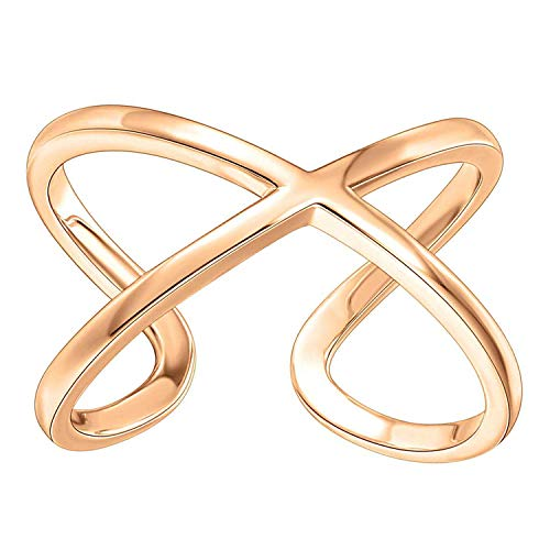 PAVOI 14K Gold Plated Crossover X Stackable Rings   Gold Rings for Women