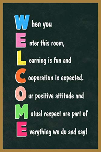 Classroom Sign Welcome Teacher Motivational Inspirational. Rules Guidelines Light Tan Cool Wall Decor Art Print Poster 24x36