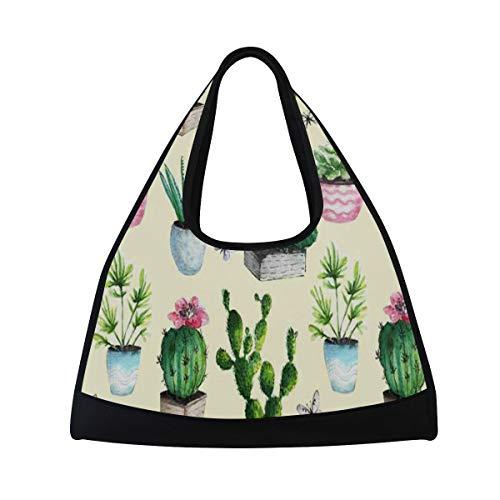 - Gym Bag, Sports Duffle Bag Cactus Succulent Boho Style Training Handbag Large Travel Shoulder Tote Bag Tennis Badminton Racket Bag for Men Women