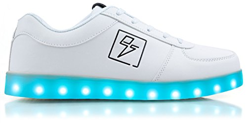 Light Up Shoes - Bolt Low Top, 5 B(M) US Women / 3 D(M) US Men White