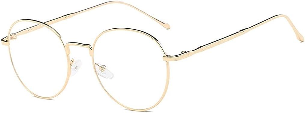 DAUCO Montura Gafas de Aviador para Unisex Hombre y Mujer con Montura de Metal-acero Fino Retro Vintage Lente Transparente Visión Clara