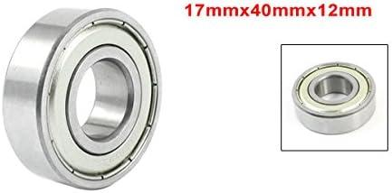 sourcing map Rodamiento Cojinete de Bolas de Ranura Profunda Sellado de Metal 6203Z 17mm//40mm//12mm