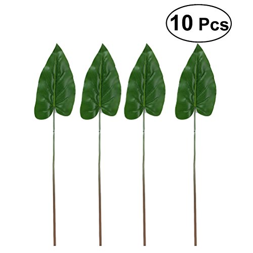 WINOMO 10pcs Green Palm Leaf Alocasia Leaves Calla Leaves Imitation Plant for Home