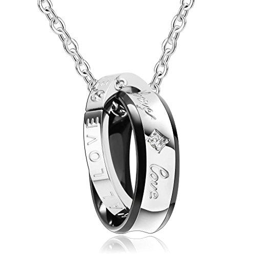 ead47a7df1f4 Gnzoe Joyería Acero Inoxidable Unisex Collar Dobles Círculo Forma Colgante  Señor Cadena Cadena de Mujeres Gótico