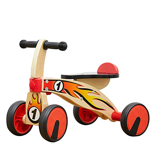 TOP BRIGHT Baby Bike Toys 1 Year Old , Baby Scooter for 1-2Years , Wooden Bike for Baby 4 Wheels