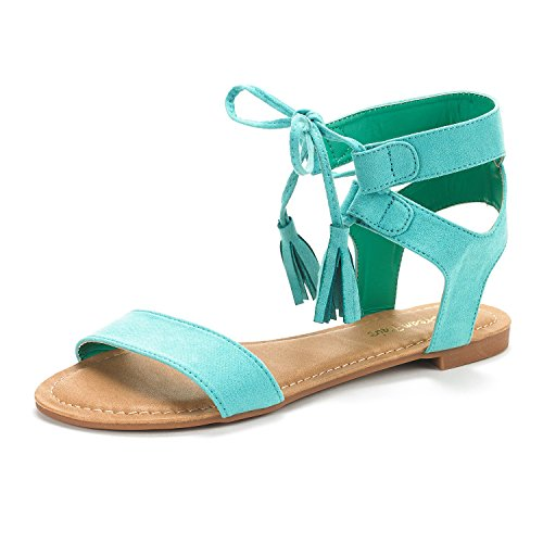 (DREAM PAIRS Women's Bowtie Mint Ankle Strap Gladiator Flat Sandals Size 7 M US )