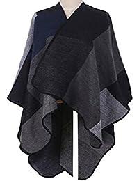 Women Open Front Oversized Blanket Poncho Cape Shawl Cardigan Coat