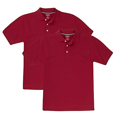 French Toast Big Boys' Short Sleeve Pique Polo-2 Pack, Red, XL (14/16) by French Toast