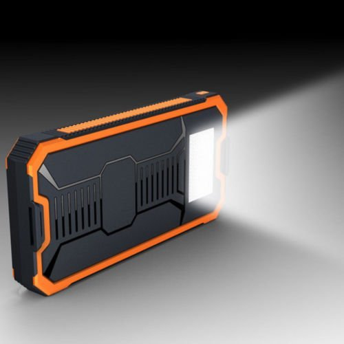 Orange 50,000 mAh Waterproof Portable Power Bank Solar Charger Dual USB Battery