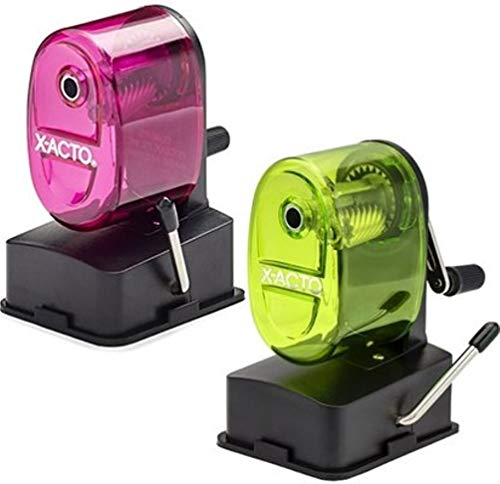 (X-Acto 2012687 Bulldog Vacuum Wall Mount Manual Pencil Sharpener, Assorted Colors (2 Pack), See-through Receptacle, Affix to Any Nonporous Surface, X-ACTO Hardened Helical Cutter)