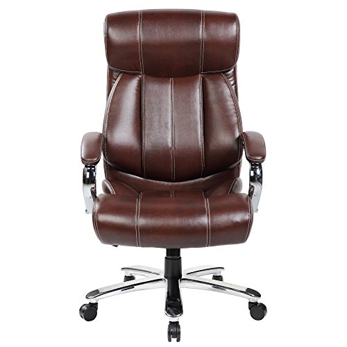 United Office Chair 9352BR High Back Leather Big and Tall 400 LBS Executive Swivel Office Computer Desk Chair (Brown)