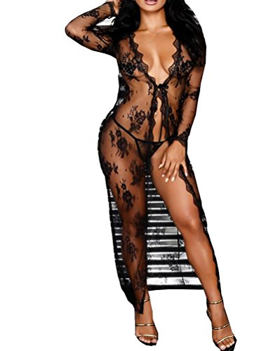 Momtuesdays2 Lingerie for Women Sexy Long Lace Dress Sheer Gown See Through...