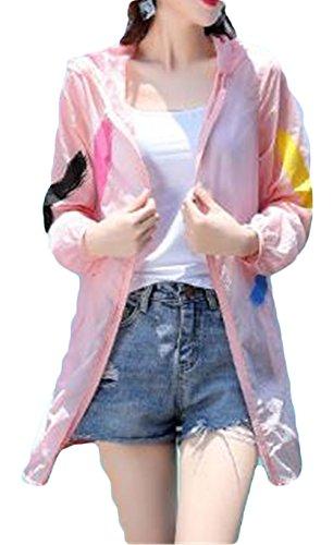 [サ二ー] カーディガン レディース 長袖 夏 ゆったり uvカット ピンク 大きいサイズ フード付き 薄手 ロング オフィス 空調服