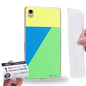Case88 [Sony Xperia Z3+ / Z4] Gel TPU Carcasa/Funda & Tarjeta de garantía - Art Cool Colour Blocking 1834
