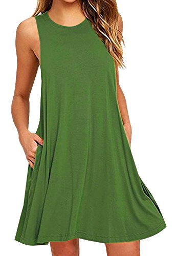 OMZIN Women's Pocket Dress Sleeveless Stretch Solid Short Tank Dresses Green,M