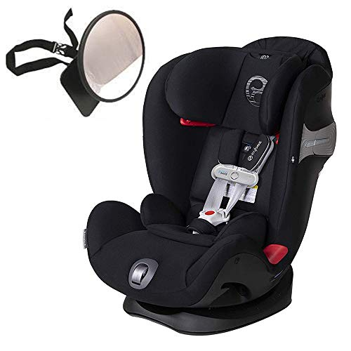 Cybex Eternis S All-in-One Car Seat with SensorSafe, Lavastone Black with Back Seat Mirror Bundle
