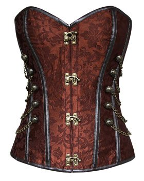 Charmian Women's Spiral Steel Boned Steampunk Gothic Bustier Corset with Chains 4
