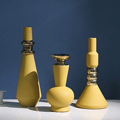 Creative small mouth vase Morandi yellow abstract decoration modern minimalist home decoration