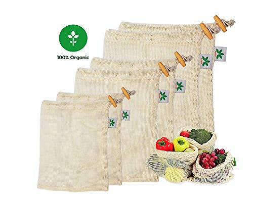 Astraby Reusable Mesh Produce Bags, Natural Durable Cotton See-Through Mesh Zero - Waste Produce Bags, Eco-Friendly Recyclable Packaging Bags for Grocery Shopping/Vegetable - Washable-Storage Set of 6