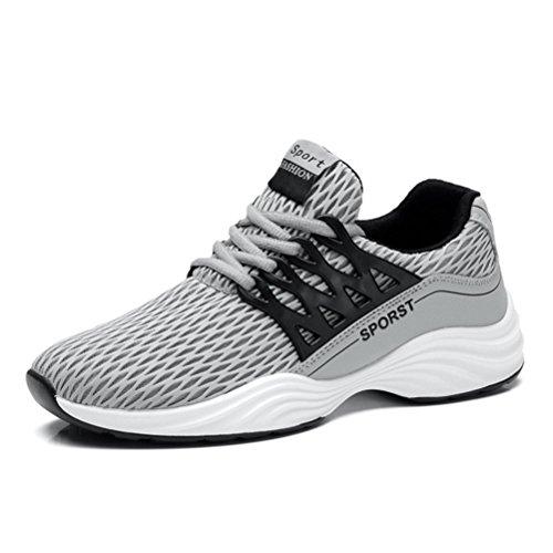 Hommes Chaussures Tricoté Chaussures De Course Respirant Dentelle Bottom Sport Floor Casual Chaussures Pour Jogging, Gris, 40