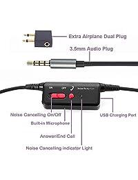 Active cancelación de ruido auriculares w Micrófono y Airplane adaptador, conambo plegable auriculares con micrófono graves potentes, súper ligero Ultra comfort black