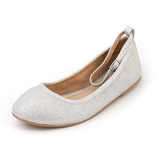 hot sale online 6d8ce fe3bb Paire De Rêve Femmes-fina-sangles Cheville Bretelles Ballerines Chaussures  Argent Paillettes