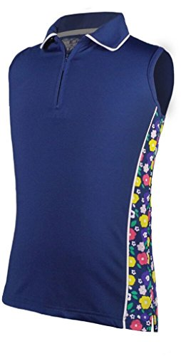 Clothing Garb - Garb Girls Dobby Sleeveless Polo Navy Medium