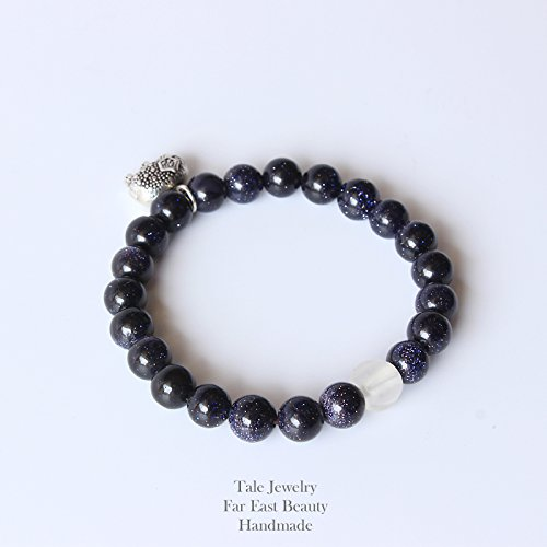 TALE Buddhist Chinese Lucky Elephant Charm Blue Sandstone Leadership Bracelet for Men Women Lucky Jewelry