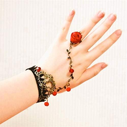 [해외]로 고딕 로리타 블랙 레이스 플라워 빈 구슬 팔찌 로즈 반지 빈티지 로맨틱 섹시 한 팔찌 팔찌 할로윈 크리스마스 파티 주얼리 액세서리 여자의 여 아를 위한 / Way Gothic Lolita Black Lace Flower Bin Beads Bracelet Rose Ring Vintage Romantic...