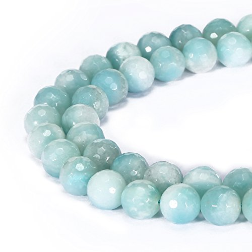BRCbeads Gorgeous Natural Green Amazonite Gemstone Faceted Round Loose Beads 4mm Approxi 15.5 inch 88pcs 1 Strand per Bag for Jewelry Making