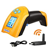 Nuberopa USB Barcode Scanner, 1D Wireless Barcode Scanner 433M Handheld Cordless Laser Bar-code Reader with Intelligent TFT Color LCD Screen, USB Rechargeable Automatic Bar Code Scanner
