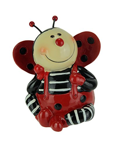 Kingmax Resin Toy Banks Adorable Sitting Ladybug Childrens Hand Painted Coin Bank 4.5 X 5 X 3.5 Inches Red