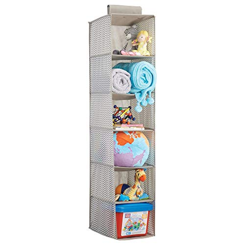 Tool Box Diaper Caddy - mDesign Soft Fabric Over Closet Rod Hanging Storage Organizer with 6 Shelves for Child/Kids Room or Nursery - Chevron Zig Zag Print, Taupe/Natural