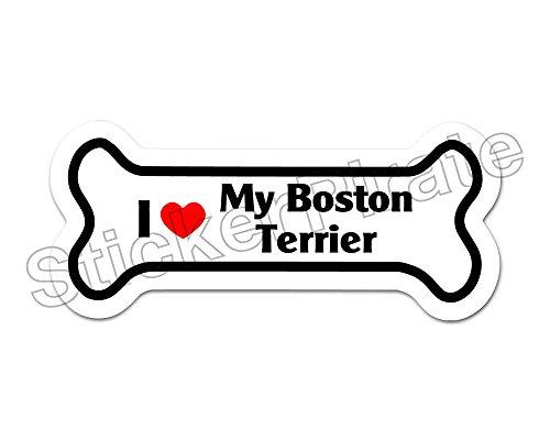 (Dog Bone Magnet I Love My Boston Terrier Car Truck Locker Magnet )
